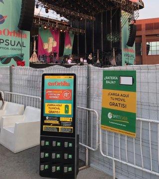 Estación de carga de smartphones para festival y eventos
