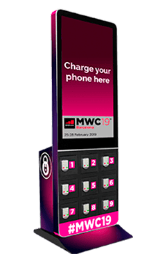 Mobile charging station with display for events