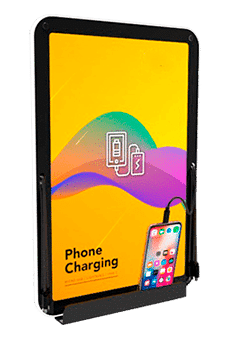 Fixed charging station for mobiles with display